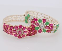 Vintage Style Flower Red AAA Cubic Zirconia Champagne Glod Plated Bracelet Bangle For Women