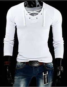 T-Shirts ( Mistura de Algodão ) MEN - Casual Decote em V - Manga Comprida 6ad85cddc45a4