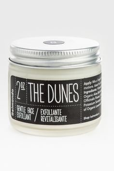 The Dunes Gentle Almond Oil Face Scrub, $35; belmondo.ca This cleanser is inspired by the way that sand exfoliates our skin during a wind-swept day at the beach, using jojoba beads to slough away dead skin. The cool, minimalist packaging is just a bonus.   - ELLE.com