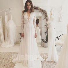 Charming Long Sleeves V Neck Affordable Formal Long Wedding Dresses, WG1247