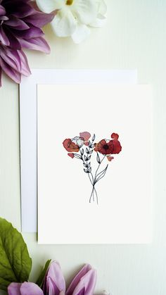 High quality printed flowers greeting card with blank inside for your greetings, congratulations and more. You will receive a white envelope for the greeting card. Bouqets, White Envelopes, Line Drawing, Flower Prints, Congratulations, Greeting Cards, Etsy, Watercolor, Ink