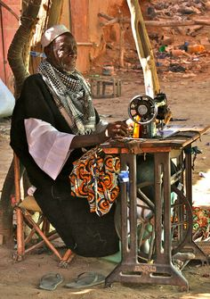 Africa | The Tailor.  Diafarabe, Mopti, Mali  | ©**El-Len**, via flickr