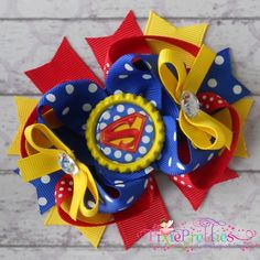 Superman Stacked Boutique Hair Bow