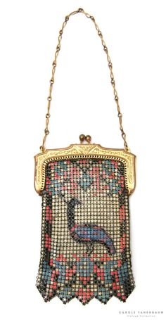 Deco Painted Mesh Bag - 1920's - by Whiting & Davis - They were recognized for their quality mesh handbags but also produced beautiful Jewelry