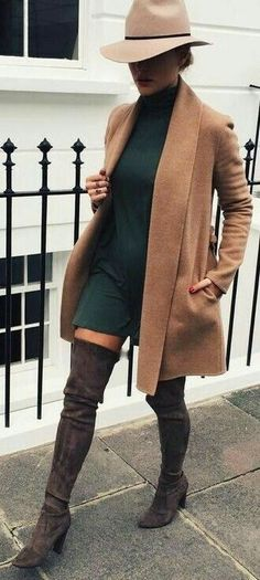Camel coat over hunter green dress with OTK boots.