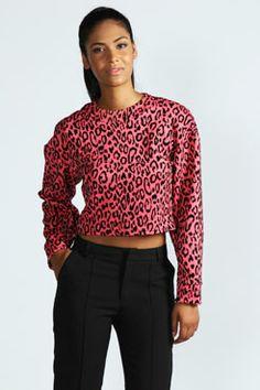 Layla Cocoon Sleeve Leopard Flock Print Top at boohoo.com