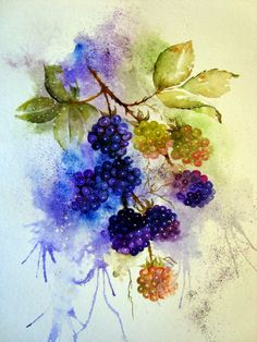Watercolour Florals by Yvonne Harry Watercolor Fruit, Watercolor Cards, Watercolour Painting, Watercolor Flowers, Painting & Drawing, Watercolours, Botanical Art, Botanical Illustration, Fruit Art