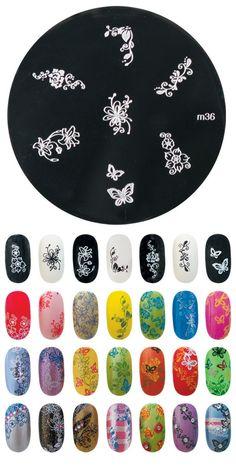 Konad m36 https://www.facebook.com/konadnailartsystem?ref=hl Nail Stamping Designs, Konad Stamping, Stamping Plates, Flower Nail Designs, Nail Art Designs, Les Nails, Nail Plate, Nail Room, Flower Nails