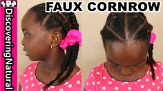 HOW TO FAKE CORNROWS NATURAL HAIR #naturalhair #kidshairstyles  | Sensitive Scalp Tender head - YouTube