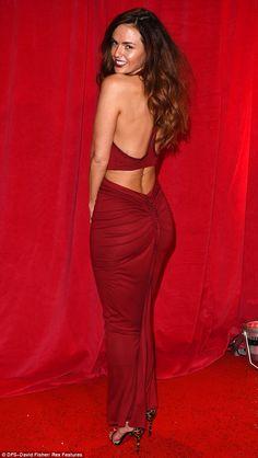Jennifer Metcalfe in a razor back-cut gown