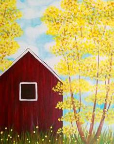 Join us at Pinot's Palette - Ellicott City on Thu Apr 09, 2015 7:00-9:00PM for Yellow Aspens. Seats are limited, reserve yours today! Red Barn Painting, Spring Painting, Diy Painting, Painting & Drawing, Watercolor Paintings, Painting Classes, Wine And Canvas, Paint And Sip, Beginner Painting