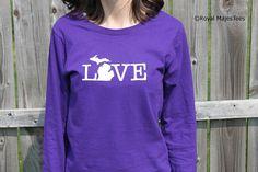 Michigan Love Shirt Long Sleeve Michigan Shirt by RoyalMajesTees, $19.99 #michigan #love #shirt #longsleeve #womens #purple #white #state #apparel #christmas #gift #holiday #mothersday #birthday #giftforher #mitten #MI