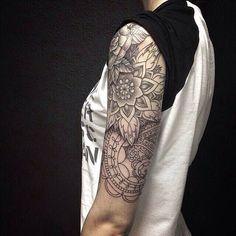 Mandala + floral half sleeve