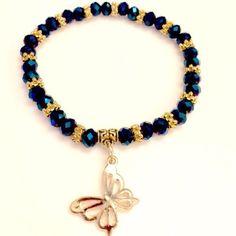 Crystal Butterfly Charm Bracelet.