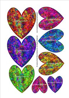 This is a collection of my own designs of funky hearts I make to use in my mixed media and collage art. I am often asked to offer collage sheets Heart Collage, Heart Art, Collage Sheet, Collage Art, Collage Ideas, Art Ideas, Gelli Plate Printing, Gelli Arts, Funky Design