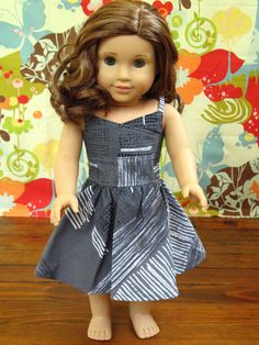 """OOAK Grey Black and White Wrap Top Dress for 18"""" Dolls American Girl Doll Clothes on Etsy, $30.00"""