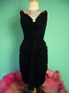 ICONIC 1950s CEIL CHAPMAN Couture Egyptian Drape Silk Chiffon Wiggle Dress
