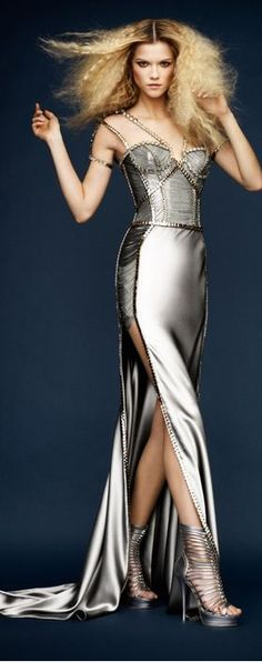 VERSACE dress~Kasia Struss~model~YES!!!Amazing metallic color. And awesome shoes..