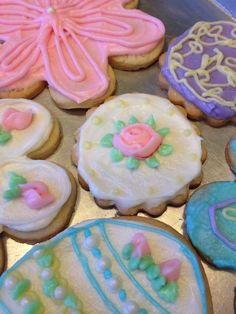 Meli's first rose. Easter decorated cookies. made by Sarah DiGloria and friend Meli
