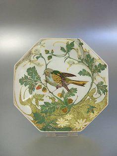 "Rozenburg, Den Haag, ""Eggshell"" Porcelain plate, painted by Sam Schellink, 1907."