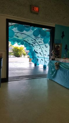 Main entrance was a tunnel to Kevani's under the sea birthday party. Main entrance was a tunnel to Kevani's under the sea birthday party. Under The Sea Theme, Under The Sea Party, Moana Birthday Party, Mermaid Birthday, Moana Party, Birthday Balloons, Party Table Decorations, Party Themes, Birthday Decorations