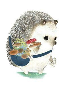 twoblackcatsstudio:The Hedgehog Mushroom GathererGreeting card for the Madison Park Group 2015 release.