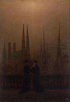 Caspar David Friedrich, Notte al porto (Sorelle) - Nacht im Hafen (Schwestern), 1818-1820. Olio su tela, 74 × 52, San Pietroburgo, Museo de l'Ermitage.