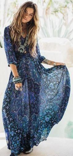 boho maxi dress navy blue floral kiss the sky long flowing summer gown button front long slit 3 4 sleeves royal blue turquoise lavender print small medium large or extra large Summer Gowns, Blue Summer Dresses, Navy Blue Dresses, Dress Summer, Boho Sommer Outfits, Boho Outfits, Style Boho, Boho Chic, Marine Uniform