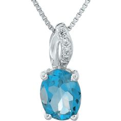 Genuine Topaz and Diamond-Accent Sterling Silver Pendant Necklace ($162) ❤ liked on Polyvore featuring jewelry, necklaces, topaz pendant, long pendant necklace, sterling silver crown pendant, sterling silver box chain necklace and sterling silver jewelry