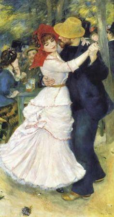 """""""Tanz in Bougival"""" (1883) von Pierre-Auguste Renoir (geboren am 25. Februar 1841 in Limoges, Limousin, gestorben am 3. Dezember 1919 in Cagnes-sur-Mer, Côte d'Azur), französischer Maler des Impressionismus."""