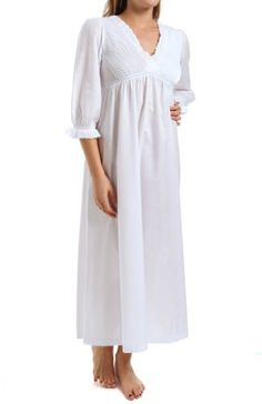 Thea Ibis 3 4 Sleeve Long Gown (7053) XL White at Amazon Women s Clothing  store  Nightgowns 1f81d8c63