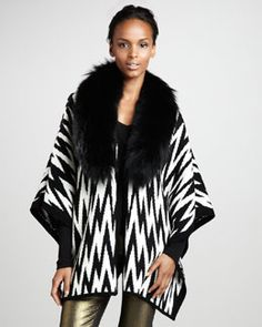 T5F1E Alice + Olivia Coley Fur-Collar Poncho Poncho #Neiman Marcus FALL Trends