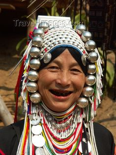 Thailand - Chiang Mai: woman from the ethnic hill tribes - Akha ethnic group - jewelry (photo by P.Artus)  this image is part of Travel-Images.com
