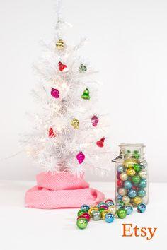 miniature christmas ornament set small mercury glass ornaments multi colored small tree decoration set of 85 - Small Christmas Decorations