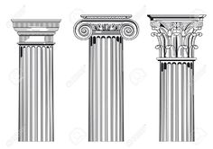 Illustration about Illustration of architectural columns in Ionic, Corinthian and Doric styles, white background. Ancient Greek Architecture, Historical Architecture, Architecture Details, Baroque Tattoo, Corinthian Order, Ionic Order, Roman Photo, Column Capital, Architectural Columns