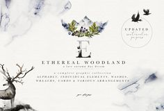 Ad: Ethereal Woodland - Graphic Set by OpiaDesigns on UPDATED with watercolor paper textures From the depths of the northern forests and inspired by the wild and raw nature, this ethereal Watercolor Logo, Watercolor Paper Texture, Watercolor Animals, Watercolor Drawing, Wreath Watercolor, Watercolor Design, Abstract Watercolor, The Animals, Forest Animals