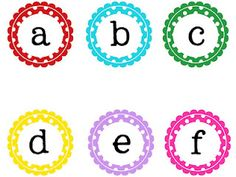 different sets of letters and numbers (printable and Free)  Great for organizing a classroom