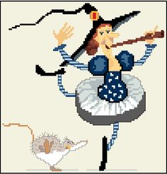 0 point de croix sorciere jouant de la flute - cross stitch witch playing flute