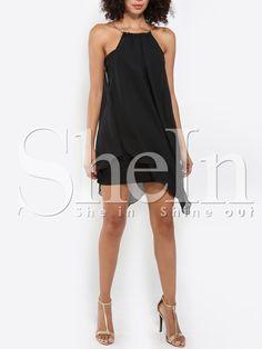 Vestido tirante fino asimétrico -negro 11.03