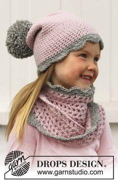 Fancy Nancy - Crochet hat and neckwarmer for children in DROPS Nepal - Free pattern by DROPS Design Crochet Kids Hats, Crochet Cap, Crochet Girls, Crochet Beanie, Crochet Scarves, Diy Crochet, Crochet Crafts, Crochet Clothes, Baby Knitting Patterns