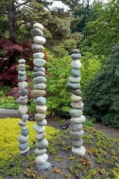 DIY: Garden Art - stones are drilled & threaded with rebar. This would be a nice, calming addition to a garden. #GardenArt