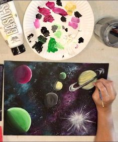Galaxy Part Two Planets Tutorial – Step By Step Painting – Karen Carney - Space Space Painting, Galaxy Painting, Painting For Kids, Diy Painting, Art For Kids, Rock Painting, Watercolour Painting, Planet Painting, Canvas Painting Quotes