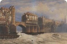 """This is a bit of a humdinger 'Old London Bridge in 1745 by Joseph Josiah Dodd interesting. Old London, Vintage London, London Art, Victorian London, London Life, Uk History, London History, British History, Tudor History"