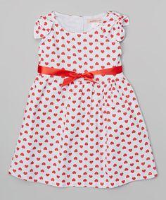Look at this #zulilyfind! White & Red Heart Dress - Toddler & Girls #zulilyfinds