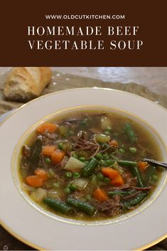 Warm and comforting homemade Beef Vegetable Soup. Use leftover prime rib bones t… Warm and comforting homemade Beef Vegetable Soup. Use leftover prime rib bones to make the best soup. Vegetable Soup Ingredients, Homemade Vegetable Beef Soup, Vegetable Soup Healthy, Vegetable Soup Recipes, Homemade Soup, Homemade Recipe, Healthy Soup, Healthy Eats, Prime Rib Soup