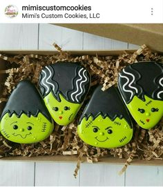 Frankie and Bride of Frankie Halloween cookies