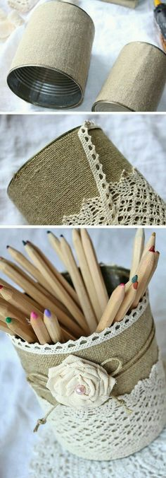 tin cans, two cans covered with burlap, decorated with lace, string and a fabric… - DIY Ideen Burlap Projects, Burlap Crafts, Craft Projects, Projects To Try, Tin Can Crafts, Diy And Crafts, Crafts For Kids, Arts And Crafts, Creation Deco