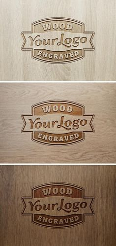 Das Logo in Holz graviert: Kostenloses Logo-Mockup
