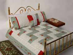 Miniature Quilt - Shabby Chic Soft Aqua and Red, with matching bed pillows and decorator pillow 1:12 Scale. $42.00, via Etsy.