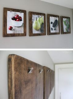 DIY Photo Clipboards 27 DIY Rustic Decor Ideas for the Home DIY Rustic Home Decorating on a Budget (For Mom's room/her art) Diy Home Decor Rustic, Shabby Chic Decor, Cheap Home Decor, Fun Diy Crafts, Recycled Crafts, Decor Crafts, Ideias Diy, Kitchen Wall Art, Kitchen Walls